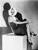 Jean Harlow - Jean Harlow Seated on a Box in Black Dress