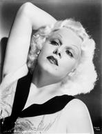 Jean Harlow - Jean Harlow Portrait in White V-Neck Sleeveless Embroidered Linen Dress and Black Collar with Right Hand Behind the Head
