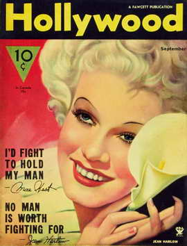 Jean Harlow - 11 x 17 Hollywood Magazine Cover 1930's Style B