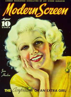 Jean Harlow - 11 x 17 Modern Screen Magazine Cover 1930's Style B