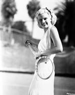 Jean Harlow - Jean Harlow Posed Tennis Racquet on Hand in White Dress