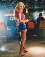Jessica Simpson - Jessica Simpson in Red Shirt and Denim Mini Skirt Portrait
