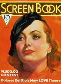 Joan Crawford - 11 x 17 Screen Book Magazine Cover 1930's