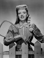Judy Garland - Judy Garland striped shirt and tennis racket
