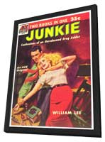 Junkie - 11 x 17 Retro Book Cover Poster - in Deluxe Wood Frame