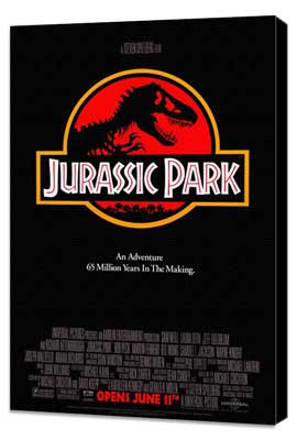Jurassic Park - 27 x 40 Movie Poster - Style A - Museum Wrapped Canvas