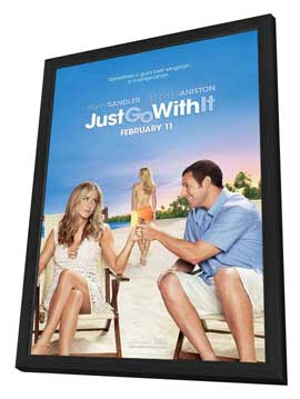 Just Go with It - 27 x 40 Movie Poster - Style A - in Deluxe Wood Frame