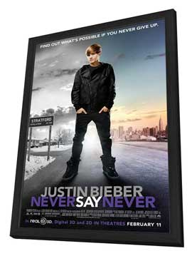 Justin Bieber: Never Say Never - 27 x 40 Movie Poster - Style C - in Deluxe Wood Frame