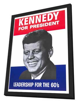 Kennedy For President - 27 x 40 Movie Poster - Style A - in Deluxe Wood Frame