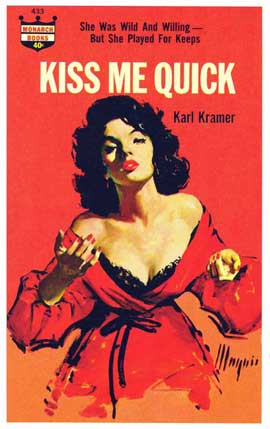Kiss Me Quick - 11 x 17 Retro Book Cover Poster