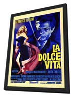 La Dolce Vita - 27 x 40 Movie Poster - Italian Style A - in Deluxe Wood Frame