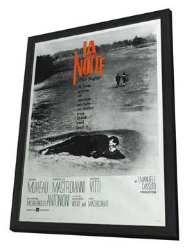 La Notte - 27 x 40 Movie Poster - French Style A - in Deluxe Wood Frame