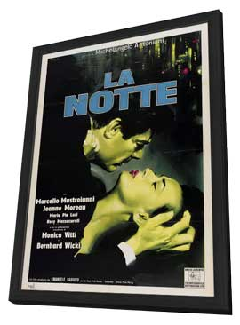 La Notte - 27 x 40 Movie Poster - Style B - in Deluxe Wood Frame