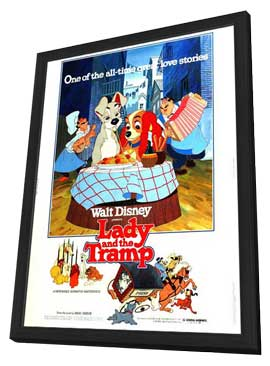 Lady and the Tramp - 11 x 17 Movie Poster - Style F - in Deluxe Wood Frame