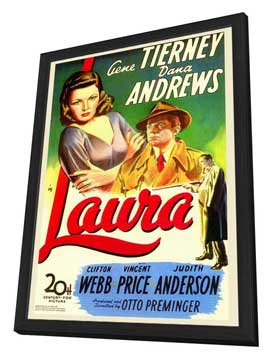 Laura - 27 x 40 Movie Poster - Style A - in Deluxe Wood Frame