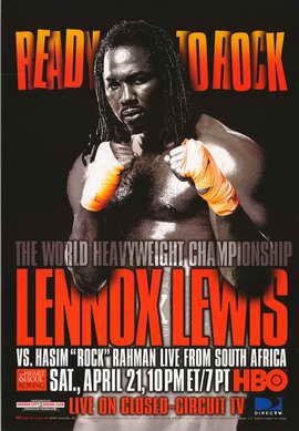 Lennox Lewis Vs. Hasim Rock Rahman - 11 x 17 Boxing Promo Poster - Style A