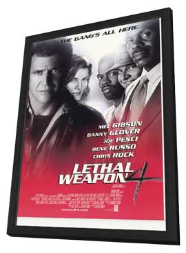 Lethal Weapon 4 - 27 x 40 Movie Poster - Style A - in Deluxe Wood Frame
