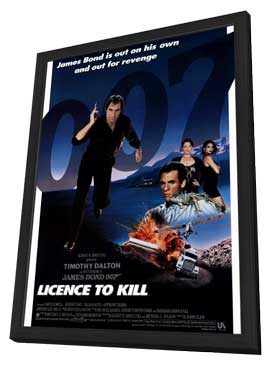 Licence to Kill - 27 x 40 Movie Poster - Style B - in Deluxe Wood Frame