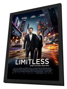 Limitless - 27 x 40 Movie Poster - UK Style A - in Deluxe Wood Frame
