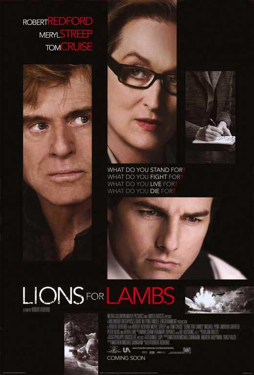 an analysis of the movie lions for lambs Lions for lambs begins after two determined students at a west coast university, arian and ernest, follow the inspiration of their idealistic professor, dr malley, and attempt to do something important with their lives.