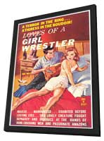 Loves of a Girl Wrestler - 11 x 17 Retro Book Cover Poster - in Deluxe Wood Frame