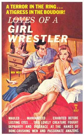 Loves of a Girl Wrestler - 11 x 17 Retro Book Cover Poster