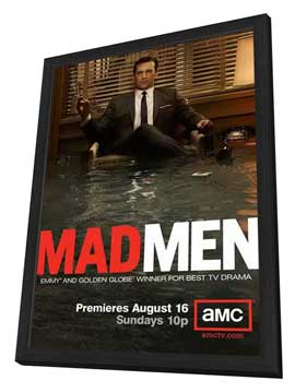 Mad Men - 11 x 17 TV Poster - Style J - in Deluxe Wood Frame