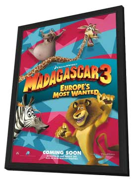Madagascar 3 - 11 x 17 Movie Poster - Style A - in Deluxe Wood Frame
