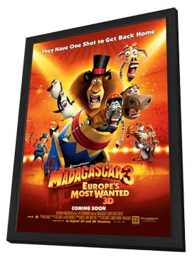 Madagascar 3 - 11 x 17 Movie Poster - Style D - in Deluxe Wood Frame