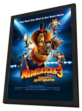 Madagascar 3 - 27 x 40 Movie Poster - Style B - in Deluxe Wood Frame