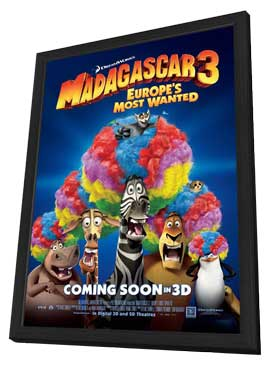 Madagascar 3 - 27 x 40 Movie Poster - Style D - in Deluxe Wood Frame