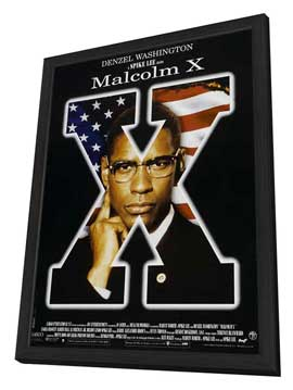 Malcolm X - 11 x 17 Movie Poster - Style E - in Deluxe Wood Frame