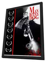 Man Bites Dog - 11 x 17 Movie Poster - Style A - in Deluxe Wood Frame