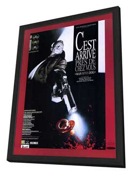 Man Bites Dog - 27 x 40 Movie Poster - French Style A - in Deluxe Wood Frame