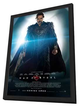 Man of Steel - 11 x 17 Movie Poster - UK Style B - in Deluxe Wood Frame