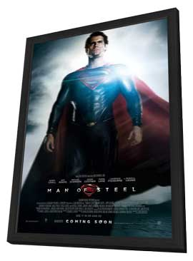Man of Steel - 11 x 17 Movie Poster - UK Style C - in Deluxe Wood Frame