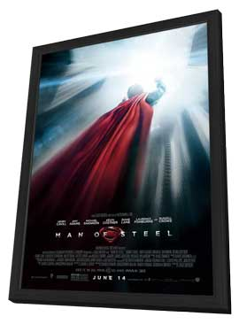 Man of Steel - 27 x 40 Movie Poster - Style D - in Deluxe Wood Frame