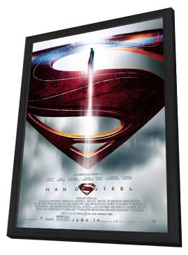 Man of Steel - 11 x 17 Movie Poster - Style E - in Deluxe Wood Frame