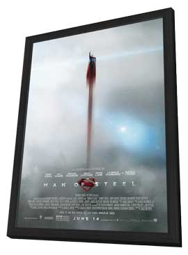 Man of Steel - 27 x 40 Movie Poster - Style F - in Deluxe Wood Frame