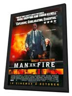 Man on Fire - 27 x 40 Movie Poster - UK Style A - in Deluxe Wood Frame