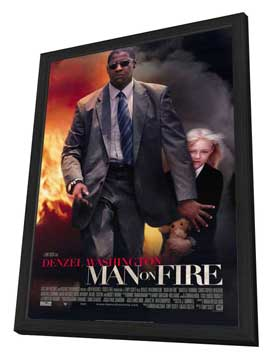 Man on Fire - 27 x 40 Movie Poster - Style A - in Deluxe Wood Frame