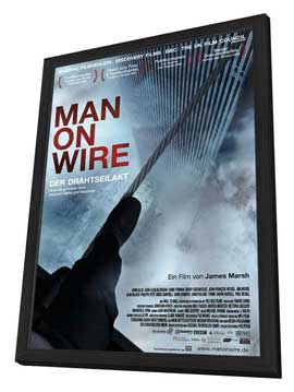 Man on Wire - 27 x 40 Movie Poster - German Style A - in Deluxe Wood Frame
