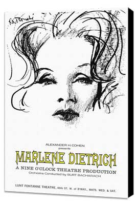 Marlene Dietrich - 27 x 40 Movie Poster - Style A - Museum Wrapped Canvas
