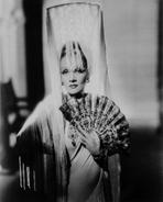 Marlene Dietrich - Marlene Dietrich Posed in Classic White Dres with Veil
