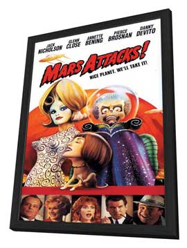 Mars Attacks! - 27 x 40 Movie Poster - Style C - in Deluxe Wood Frame