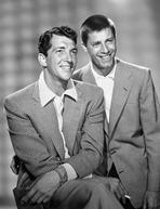 Martin and Lewis (TV) - Dean Martin and Jerry Lewis Scene with Two Men smiling in Plaid Suit