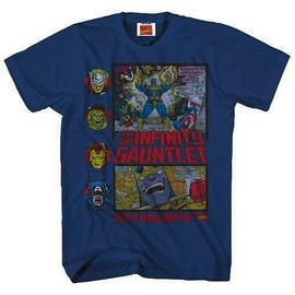 Marvel Heroes - Heroes Fight Thanos Heather Navy Blue T-Shirt