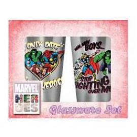 Marvel Heroes - Only Date Superheroes Glass Tumbler 2-Pack