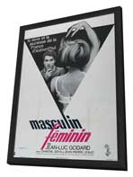 Masculine Feminine - 27 x 40 Movie Poster - French Style A - in Deluxe Wood Frame
