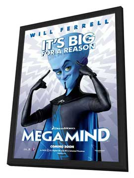 Megamind - 27 x 40 Movie Poster - Style A - in Deluxe Wood Frame
